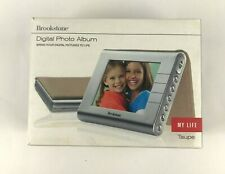 """Brookstone Digital Photo Album My Life 3.5"""" Portable Picture Frame Taupe NEW"""