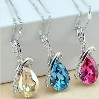 Fashion Women Silver Chain Crystal Rhinestone Pendant Necklace Jewelry Gift