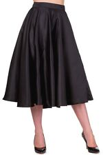 S BLACK VINTAGE MIRACLE CIRCLE SATIN SKIRT RETRO SPRING 10 ROCKABILLY MIDI LINDY