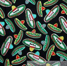 BonEful Fabric Cotton Quilt Black Aqua Blue Red Ethnic Mexican Hat Tx Mask Scrap