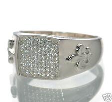 Men's Solid 925 Sterling Silver Lab Simulated Diamond Fleur De Lis Ring Sz-9 '