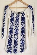 Lulu's Boho Embroidered Gauze Summer Dress Women's Size Large White And Blue