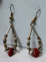 Hand crafted  Liquid Silver Red  Jasper nugget bead chandelier dangle earrings
