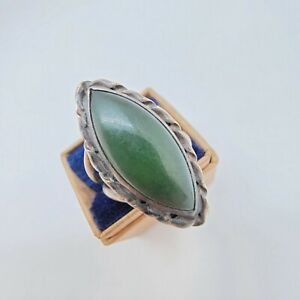 Sterling Silver Jade Ring Size 5
