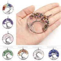 Chakra Gemstone Chip Beads Tree of Life Wire Wrap Healing Point Pendant Fashion