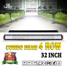 32'' 10D Quad Row 1800W LED Work Light Bar Flood Spot Driving 4x4 SUV BOAT 4WD