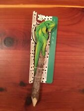 Nwt Handcrafted Doodle Tops Animal Wood Pencil Green Lizard Iguana Topper Eco
