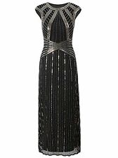 Vijiv 1920s Long Prom Dresses Cap Sleeve Beaded Sequin Maxi Evening Party Dress