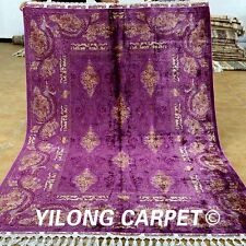 Yilong 5.6'x8.2' Pictorial Silk Rugs Hand Knotted Hand-made Tabriz Carpets 1838