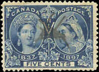 1897 Used Canada 5c F+ Scott #54 Diamond Jubilee Stamp