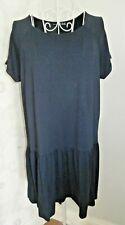 Women's navy blue jersey short sleeved summer drop waist dress size 10 Atmospher