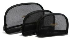 Chanel Beaute Cosmetic Makeup Bag Black Mesh 2 Sizes Excellent for Beach NEW