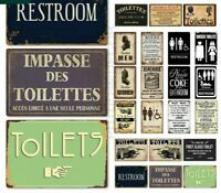 Toilet Sign Plaque Metal Vintage Bathroom Tin Wall Decor for Restroom Funny Gift