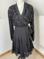 Forever Unique Wrap Short Chiffon Dress Black Size 12 Sequin Party Occasion Tie