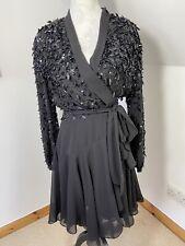 Forever Unique Wrap Short Chiffon Dress Black Size 12 Sequin Party Occasion Tie