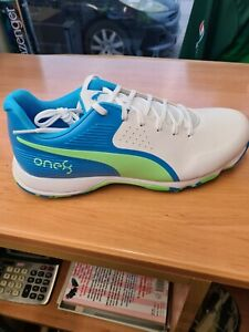 PUMA 19 FH RUBBER   WHITEe NRGY BLUE-GREEN Cricket Shoes  SIZE 7-11