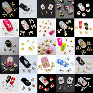5 x New 3D Nail Art Charms Decoration, Halloween, Flowers, Crowns, Hearts, UK