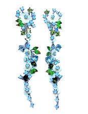925 Silber Ohrringe* 78x14 mm* Perlmuttblumen Dyed Opal Chrom Diopside Blautopas
