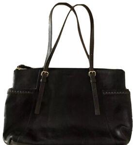 TIGNANELLO Black Leather -2 Side Open Pockets-Adjustable Dark Brown Straps Tote