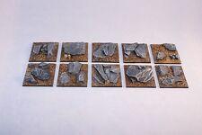 40mm square SCENIC résine bases X5 non peinte, fantasy science-fiction par daemonscape