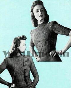 Knitting Pattern Vintage 1940s Ladies Patterned Rib Twin Set/Cardigan/Jumper.