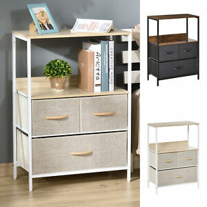 Chest of Drawers Bedroom Unit Storage Cabinet with 3 Fabric Bins Living Room