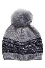UGG AUSTRALIA Gray Heather Shearling Pom Marled Knit Beanie One Size  NWT $70