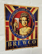 Campaña para Real Ale Metal Aluminio Cartel Vintage Reina Union Jack signos de cerveza