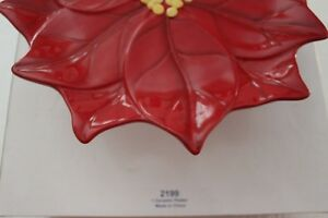 """L 2199 Princess House Holiday Poinsettia Red Pedestal Plate 12""""D 4""""H RET"""