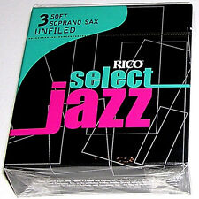 1 Box of 10 Rico Select Jazz Reeds Soprano Sax Unfiled. 3-Soft (3S). RRS10SSX3S