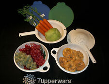 Tupperware 2 WHITE Thatsa Jr 12cup mixing Bowls ~Double Colander strainer sieve