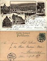 1897 Stempel HAMELN auf Lithographie Litho-Mehrbildkarte nach Hannover gelaufen
