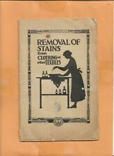 REMOVAL OF STAINS FROM CLOTHING FARMERS BULLETIN 1922 VINTAGE ADVERTISING