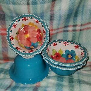 Pioneer Woman Melamine Breezy Blossoms Dip Fruit Bowl Set Of 4