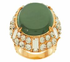 LUXE RACHEL ZOE GREEN CABOCHON AND CRYSTAL ORNATE DESIGN RING SIZE 7 QVC