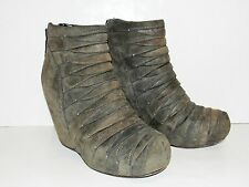 37.5 RICK OWENS Classic Scarpa Wedge Bandage Wrap Brown Leather Ankle Boots