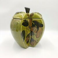 Los Angeles Potteries Ceramic Green Apple Shaped Cookie Jar 1964 Excellent