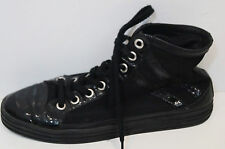 HOGAN Women's Black Leather Patent & Fabric Branded High Tops Sneakers UK8 EU41