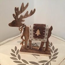 Nordic wooden REINDEER free standing Christmas decoration ornament 17cm