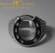 Solid Sterling STAMPED 925 Silver Highly Polished Horse shoe Ring 9.7 grams