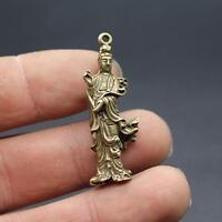 Chinese pure brass Guanyin bodhisattva small pendant