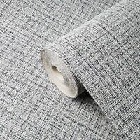 Wallpaper plain textured modern gray black faux textile cloth lines texture roll