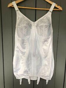 Naturana Open bottom firm control corselette, zip front fastening & suspenders