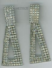 Rhinestone Prong set Clip-on Earrings Triangle Drop Convertible Estate