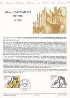 Document philatélique 40-85 1er jour 1985 Albert Giacometti Peintre