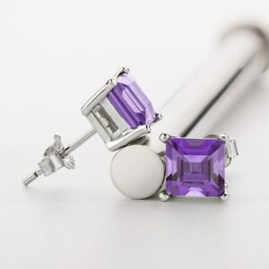 2Ct Princess Cut Amethyst Diamond Solitaire Stud Earrings 14K White Gold Over