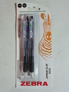 Brand New Zebra Jimni Clip Eco Ballpoint Pens - 1.0mm - Black Ink - Pack of 2