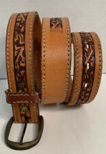 Vintage Boho Unisex Belt Size 32 Brown Hand Antiqued Tooled Saddle Leather
