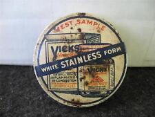 VINTAGE OLD METAL VICKS TEST SAMPLE TIN