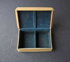ANTIQUE LIGHT BLUE VELVET CREAMY CELLULOID JEWELRY BOX MARKED